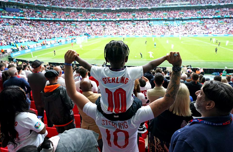 Just over 40,000 fans were allowed to attend the England vs Germany game. (PA)