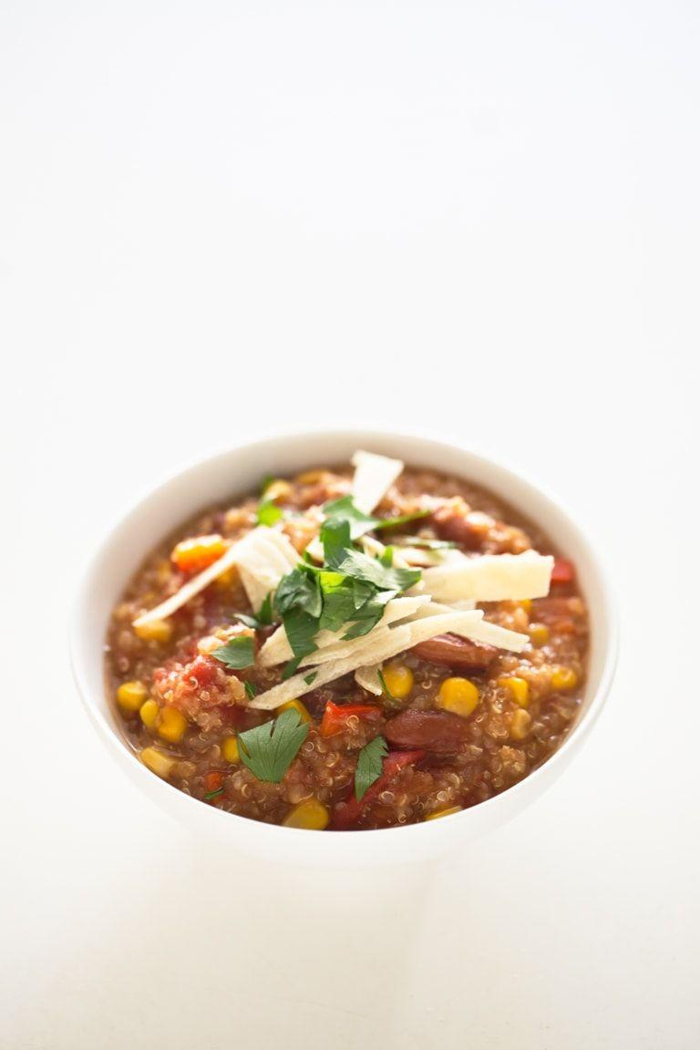 """<p>This hearty and filling dish is super easy to make. Thanks to the beans and quinoa, it's packed with protein and fiber. And it doesn't back down on flavor. It recommends you add in onion, garlic, cumin, oregano, black pepper and cayenne pepper, but you can also add in your favorite herbs and spices as well.</p><p><em><a href=""""https://simpleveganblog.com/slow-cooker-vegan-quinoa-chili/"""" rel=""""nofollow noopener"""" target=""""_blank"""" data-ylk=""""slk:Get the recipe from Simple Vegan »"""" class=""""link rapid-noclick-resp"""">Get the recipe from Simple Vegan »</a></em></p>"""