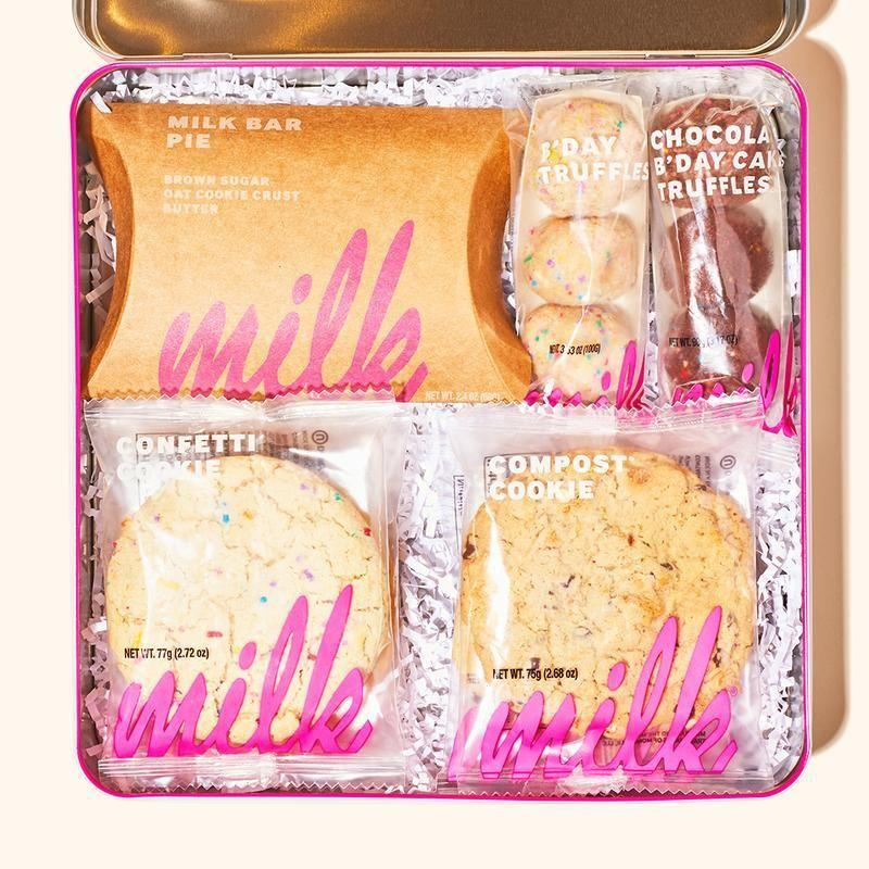 """<p>milkbarstore.com</p><p><strong>$52.00</strong></p><p><a href=""""https://go.redirectingat.com?id=74968X1596630&url=https%3A%2F%2Fmilkbarstore.com%2Fcollections%2Fthanksgiving-gifts%2Fproducts%2Fmilk-bar-bakery-gift-box&sref=https%3A%2F%2Fwww.menshealth.com%2Ftechnology-gear%2Fg34408578%2Fbest-anniversary-gifts%2F"""" rel=""""nofollow noopener"""" target=""""_blank"""" data-ylk=""""slk:Shop Now"""" class=""""link rapid-noclick-resp"""">Shop Now</a></p><p>If your sweetheart has a sweet tooth, there's a good chance they're going to love The Milk Bar Sampler. Complete with all of the iconic treats the bakery is known for, this set contains Milk Bar pie, assorted birthday cake truffles, a confetti cookie, and a compost cookie.</p>"""