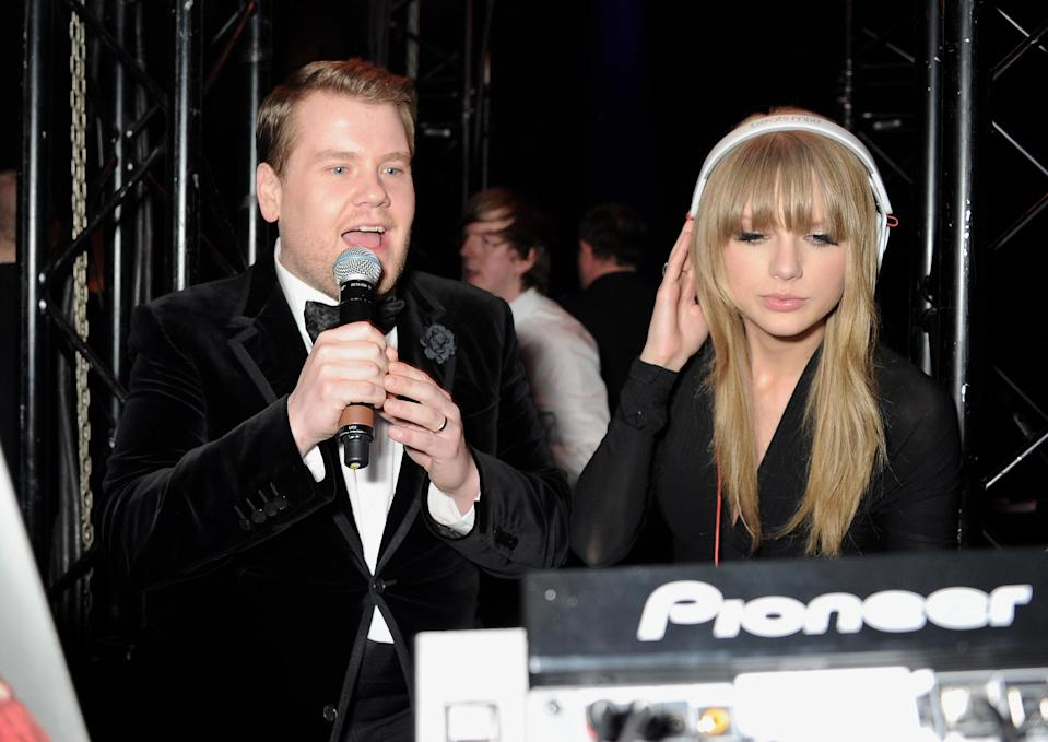 James Corden (L) and Taylor Swift DJ at the Universal Music Brits Party hosted by Bacardi at the Soho House pop-up on February 20, 2013 in London, England. (Photo by Dave M. Benett/Getty Images for BACARDI)