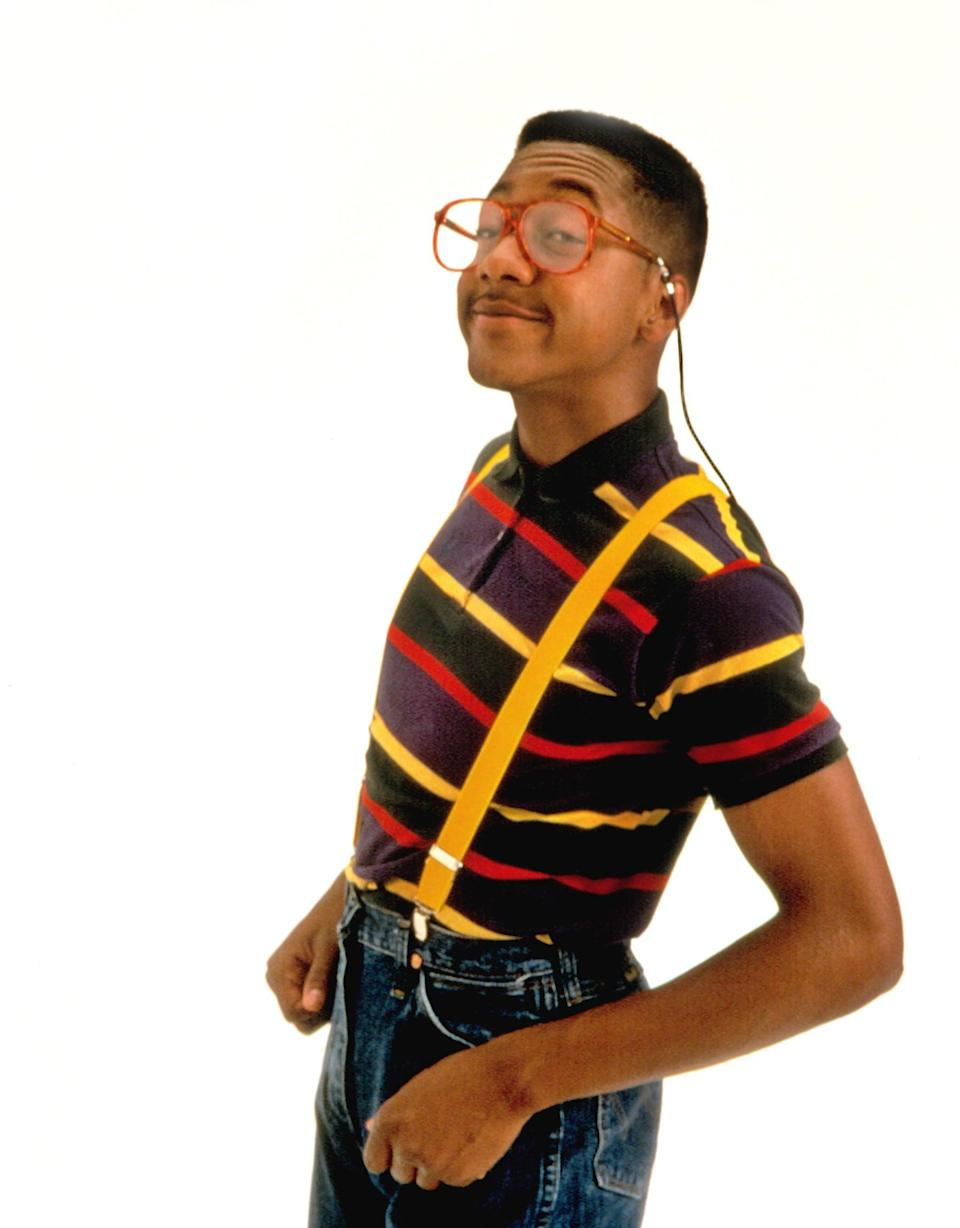 """<ul> <li><b>What to wear:</b> A striped shirt (buttoned all the way up to your chin) with high-waisted pants and suspenders. Add glasses with giant rims and white socks with loafers.</li> <li><b>How to act:</b> Ridiculously clumsy. Bump into people, knock things over, and consistently ask """"Did I do that?"""" even though you <i>know</i> you did that.</li> </ul>"""