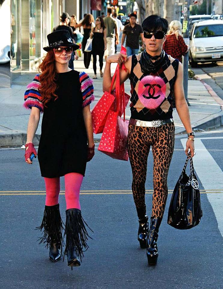 "The crimes against fashion being committed by Phoebe Price and her BFF Bobby Trendy on Robertson Boulevard are so severe that we're left speechless. Adrian Varnedoe/<a href=""http://www.pacificcoastnews.com/"" target=""new"">PacificCoastNews.com</a> - November 14, 2008"