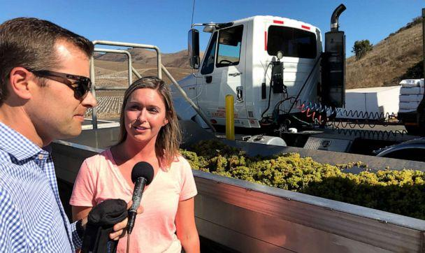 ABC News' Alex Stone (left) talks with winemaker Jill Russell (right) at Cambria Estate Vineyard and Winery in Santa Maria, California. (Alex Stone/ABC)