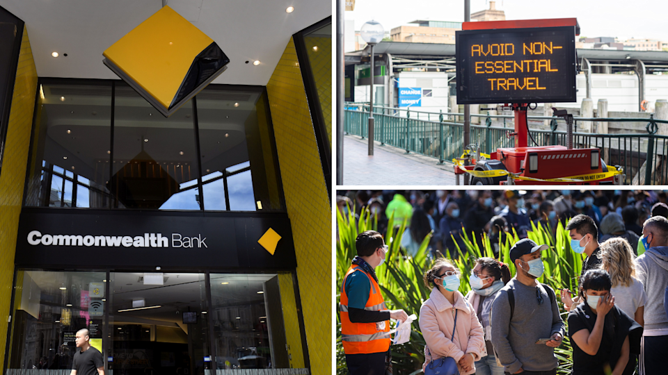The exterior of a Commonwealth Bank branch. A sign in Sydney warning residents to avoid non-essential travel and people waiting in line wearing masks.