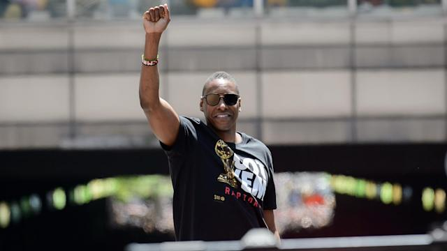 TORONTO, ON - JUNE 17: Toroto Raptors president Masai Ujiri holds his fist in the air during the Toronto Raptors Championship parade on June 13, 2019 in Toronto, ON, Canada. (Photo by Julian Avram/Icon Sportswire via Getty Images)