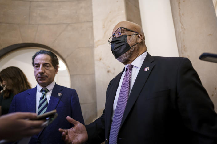 Rep. Jamie Raskin, D-Md., left, and Rep. Bennie Thompson, D-Miss., chairman of the House select committee investigating the Jan. 6 Capitol insurrection, speak with reporters after members of the panel met with House Speaker Nancy Pelosi to prepare for the start of hearings next week, at the Capitol in Washington, Thursday, July 22, 2021. (AP Photo/J. Scott Applewhite)