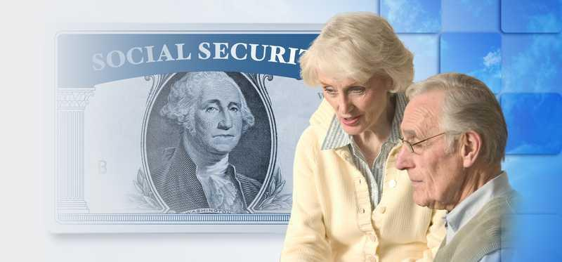Elderly couple with social security over a dollar bill in the background.
