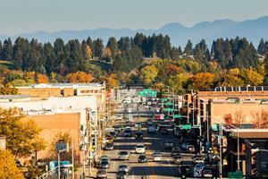 Fall foliage in downtown Kalispell.