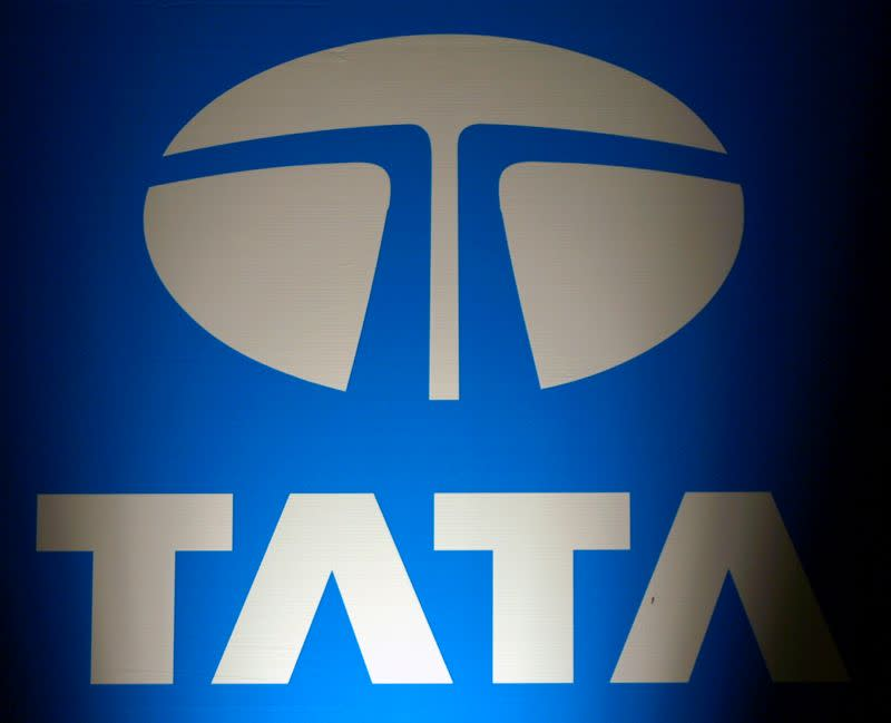 Logo of Tata Group is seen at a business meeting in New Delhi