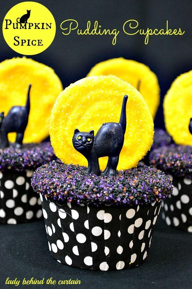 """<p>Melted candy lollipops form the full moons backlighting these bad-omen cats. </p><p><strong>Get the recipe at </strong><strong><a href=""""http://www.ladybehindthecurtain.com/pumpkin-spice-pudding-cupcakes/"""" rel=""""nofollow noopener"""" target=""""_blank"""" data-ylk=""""slk:Lady Behind the Curtain"""" class=""""link rapid-noclick-resp"""">Lady Behind the Curtain</a>.</strong><br></p><p><strong><strong><strong><a class=""""link rapid-noclick-resp"""" href=""""https://www.amazon.com/Wilton-Non-Stick-Muffin-Cupcake-Baking/dp/B00KIFBI1C/?tag=syn-yahoo-20&ascsubtag=%5Bartid%7C10050.g.1366%5Bsrc%7Cyahoo-us"""" rel=""""nofollow noopener"""" target=""""_blank"""" data-ylk=""""slk:SHOP CUPCAKE TINS"""">SHOP CUPCAKE TINS</a></strong></strong></strong></p>"""