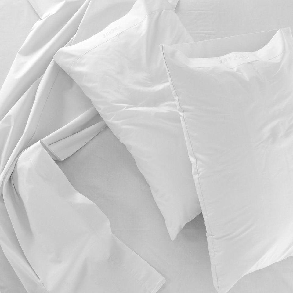 """<h3>Sweave Bedding</h3> <br>Sweave's bedding offerings are select but with a purpose: each piece is crafted using OEKO-TEX certified textiles (mainly breathable, crisp, and durable eucalyptus fibers) with a lifetime guarantee — and each purchase is matched with the environmental give-back of a eucalyptus-tree planting. <br><br><em>Shop <strong><a href=""""https://www.sweavebedding.com/"""" rel=""""nofollow noopener"""" target=""""_blank"""" data-ylk=""""slk:Sweave"""" class=""""link rapid-noclick-resp"""">Sweave</a></strong></em><br><br><strong>Sweave Bedding</strong> Core Sheet Set, $, available at <a href=""""https://go.skimresources.com/?id=30283X879131&url=https%3A%2F%2Fwww.sweavebedding.com%2Fproducts%2Fcore-sheet-set"""" rel=""""nofollow noopener"""" target=""""_blank"""" data-ylk=""""slk:Sweave Bedding"""" class=""""link rapid-noclick-resp"""">Sweave Bedding</a><br><br><br>"""