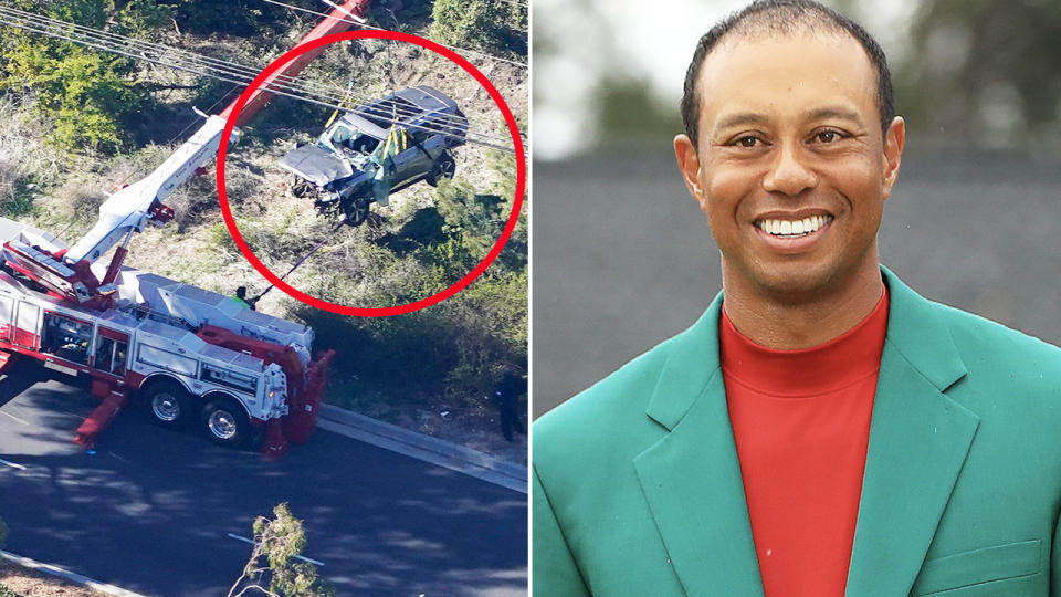 Tiger Woods, pictured here after he was seriously injured in the single-vehicle crash.