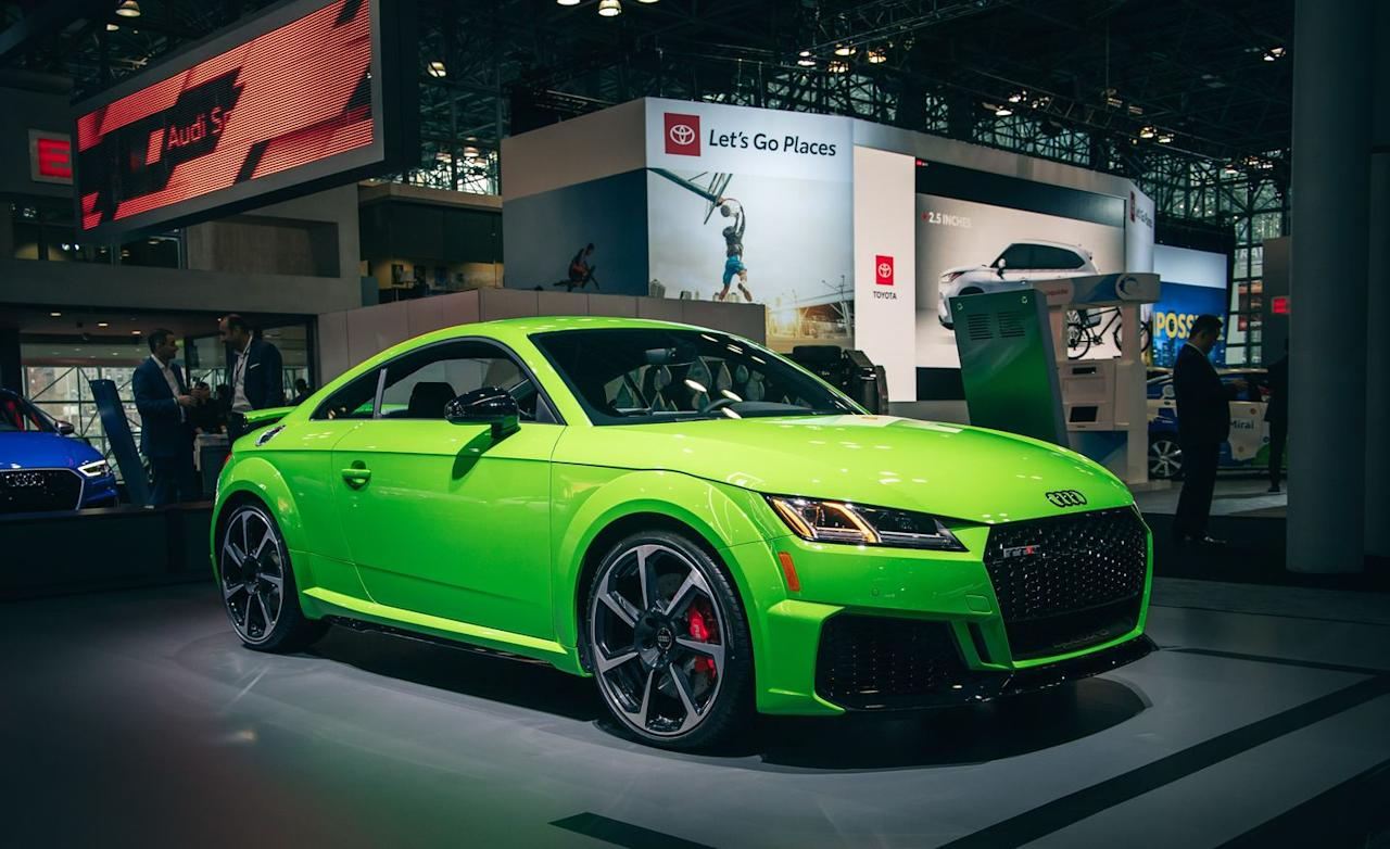 "<p><a href=""https://www.caranddriver.com/audi/tt-rs"" target=""_blank"">The 2020 TT RS</a> is offered in Kayalami Green, which sounds and looks like Kawasaki Green, of motorcycle fame, and the hue totally works on Audi's small, chunky sports car.</p>"
