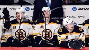 Most hockey players sit orderly on the bench, taking a breather between shifts while watching their teammates on the ice. But sometimes, you may see an entire team standing up