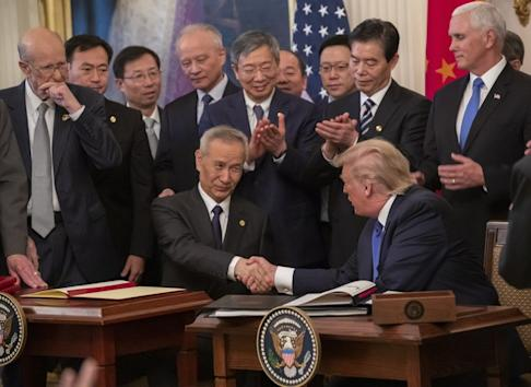 Analysts have warned that despite the glitz of the White House signing ceremony, US-China relations remain fraught. Photo: EPA-EFE