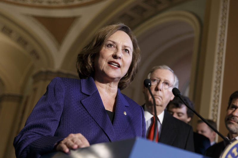 FILE - In this April 8, 2014, file photo, Sen. Deb Fischer, R-Neb., accompanied by Senate Minority Leader Mitch McConnell of Ky., talks during a news conference on Capitol Hill in Washington. Nebraska voters on Tuesday, May 15, 2018, will pick U.S. Senate nominees for both parties out of crowded fields of candidates who hope to claim the seat held by incumbent Fischer. (AP Photo/J. Scott Applewhite, File)