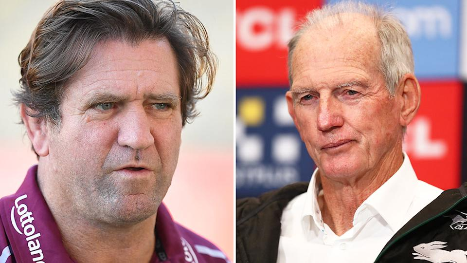 Pictured here, rival NRL coaches Des Hasler and Wayne Bennett.