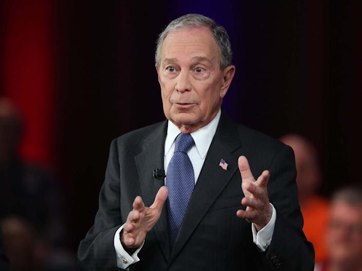 Democratic presidential candidate, former New York City mayor Mike Bloomberg speaks during a Fox News town hall: Getty Images