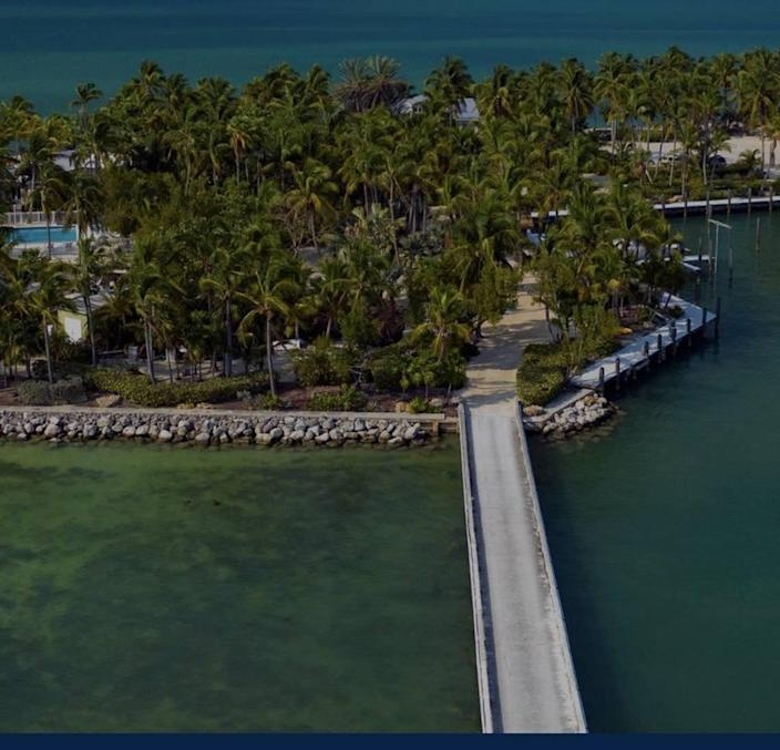 An aerial view shows a private island off the Florida Keys that sold in March 2021 for $11 million.