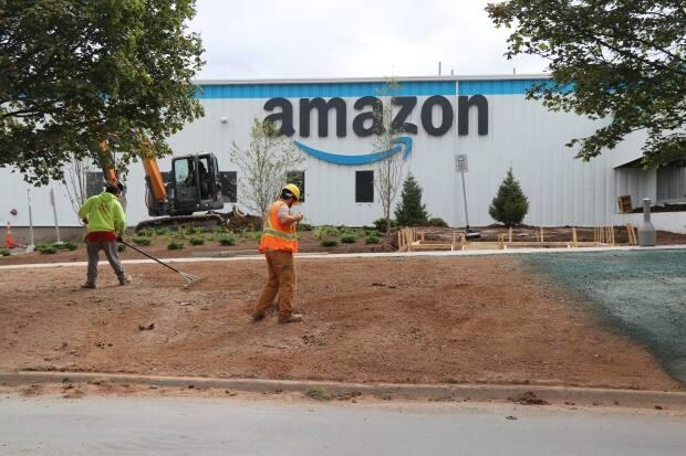 Amazon's new warehouse in Dartmouth, N.S., is shown on Friday. (Paul Poirier/CBC - image credit)