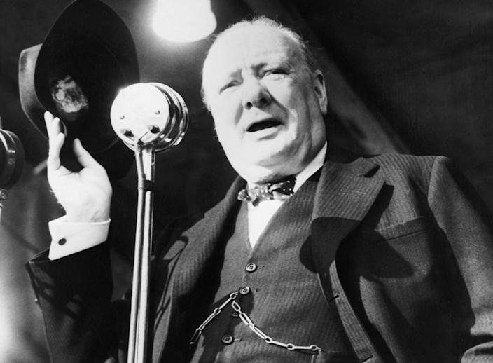 "<span class=""caption"">Winston Churchill giving his final address, during the 1945 election campaign, at Walthamstow Stadium, East London.</span> <span class=""attribution""><a class=""link rapid-noclick-resp"" href=""https://commons.wikimedia.org/wiki/File:British_Political_Personalities_1936-1945_HU59722.jpg#/media/File:British_Political_Personalities_1936-1945_HU59722.jpg"" rel=""nofollow noopener"" target=""_blank"" data-ylk=""slk:Wikipedia, the collections of the Imperial War Museums"">Wikipedia, the collections of the Imperial War Museums</a></span>"