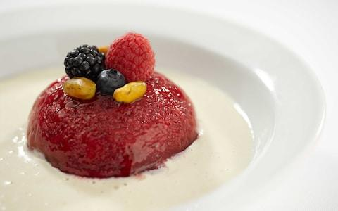 Plant-based summer berry pudding