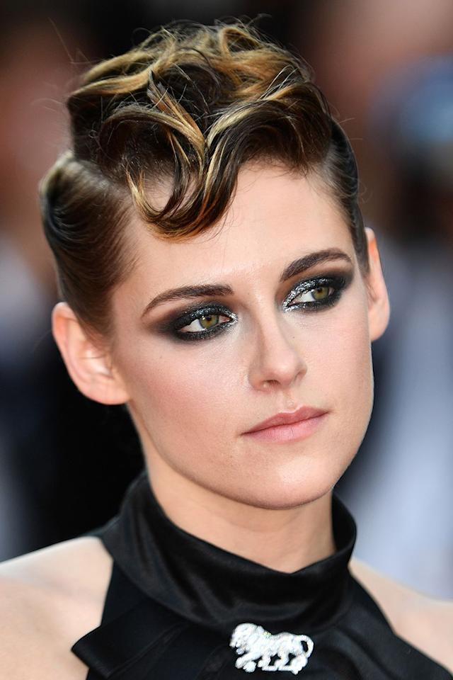 <p>Kristen Stewart's power look married a sleek punk up-do with a shimmery smoky eye. </p>