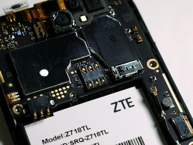 The inside of a ZTE smart phone. Reuters