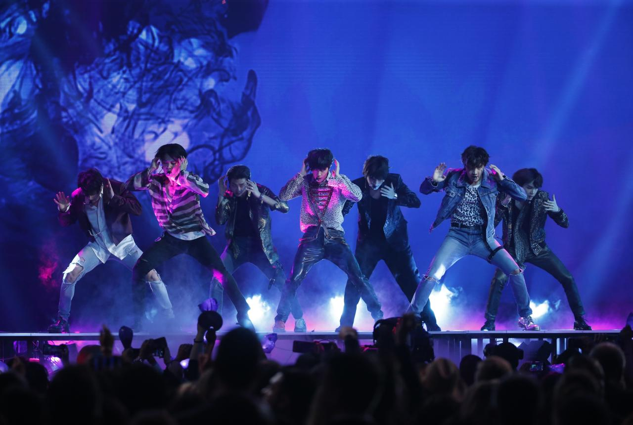 """<p>BTS performs """"Fake Love"""" at the Billboard Music Awards at the MGM Grand Garden Arena on Sunday, May 20, 2018, in Las Vegas. (PHOTO: Mario Anzuoni/Reuters) </p>"""