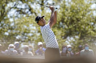 Kevin Na hits his drive on the No. 7 tee during a third round match at the Dell Technologies Match Play Championship golf tournament Friday, March 26, 2021, in Austin, Texas. (AP Photo/David J. Phillip)