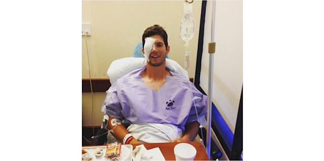 Phillies prospect Matt Imhof in the hospital. (@matt_imhof48)