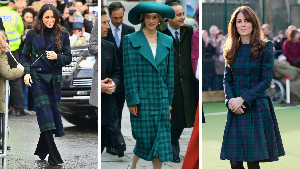 <p>Diana wore this tartan ensemble on a visit to Venice in 1985. Both her daughters-in-law followed suit – Kate in 2012 and Meghan in 2017.<em> [Photo: Getty]</em> </p>