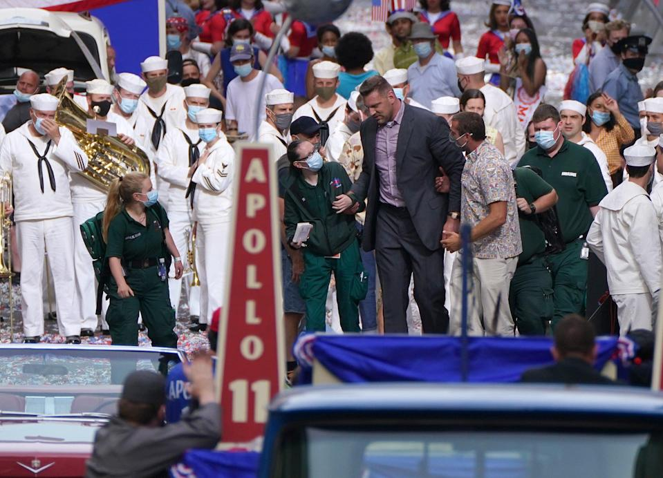 The actor took a spill while filming a scene where he barged through a marching band (Andrew Milligan/PA) (PA Wire)