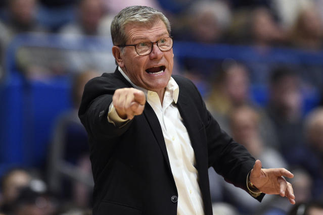 Connecticut head coach Geno Auriemma calls out to an official in the second half of an NCAA college basketball game against Houston, Saturday, Jan. 11, 2020, in Hartford, Conn. (AP Photo/Jessica Hill)