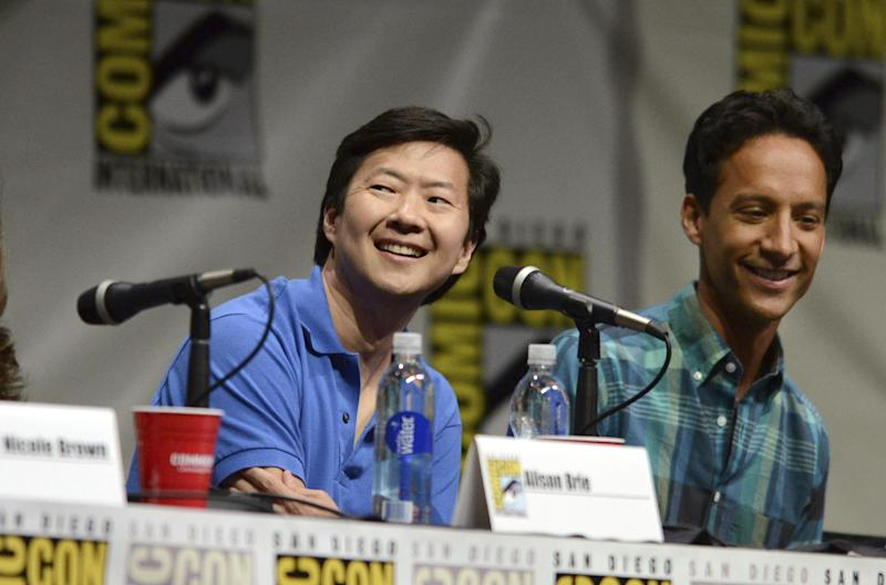 """Ken Jeong, left, and Danny Pudi attend the """"Community"""" panel on Day 5 of Comic-Con International on Sunday, July 21, 2013, in San Diego. (Photo by Jordan Strauss/Invision/AP)"""