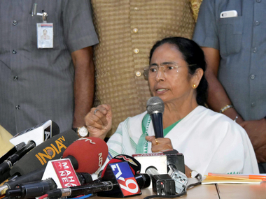 Mamata Banerjee led the press conference with three other chief ministers to express support for Arvind Kejriwal. PTI.