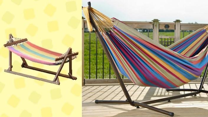 This colorful hammock will brighten up any backyard.