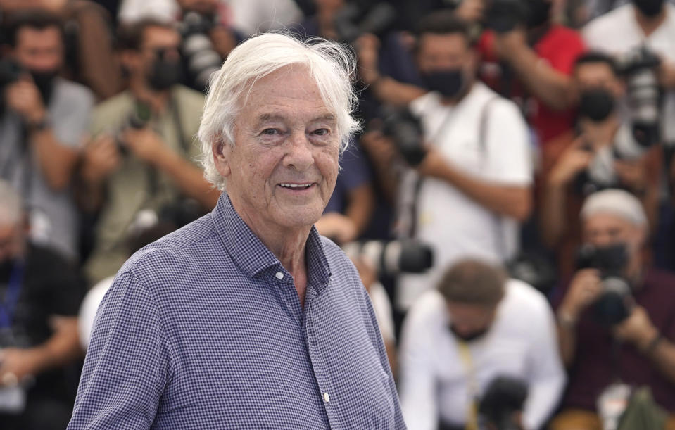Director Paul Verhoeven poses for photographers at the photo call for the film 'Benedetta' at the 74th international film festival, Cannes, southern France, Friday, July 9, 2021. (AP Photo/Brynn Anderson)
