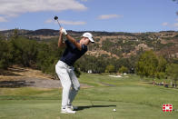 Maverick McNealy hits from the fourth tee of the Silverado Resort North Course during the final round of the Fortinet Championship PGA golf tournament Sunday, Sept. 19, 2021, in Napa, Calif. (AP Photo/Eric Risberg)