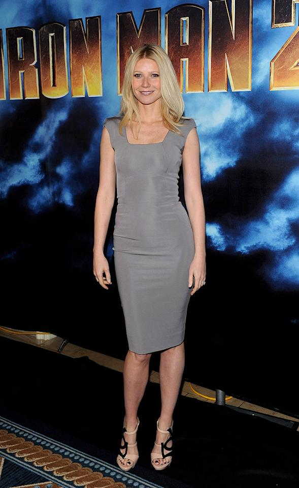 """<a href=""""http://movies.yahoo.com/movie/contributor/1800018601"""">Gwyneth Paltrow</a> poses during Paramount Pictures & Marvel Entertainment's <a href=""""http://movies.yahoo.com/movie/1810026429/info"""">Iron Man 2</a> photo call held at the Four Seasons Hotel on April 23, 2010 in Los Angeles, California."""