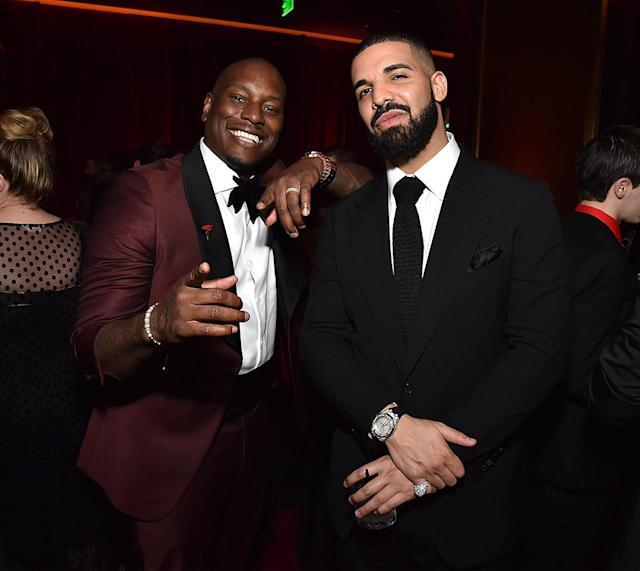 <p>Tyrese Gibson and Drake attend the Netflix Golden Globes after-party at the Waldorf Astoria Beverly Hills. (Photo: Kevin Mazur/Getty Images for Netflix) </p>