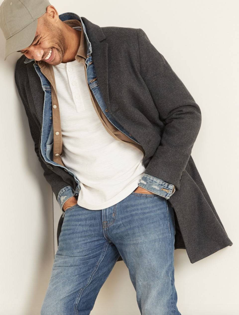 Soft-Brushed Three-Button Topcoat for Men - on sale at Old Navy, $68 (originally $135).
