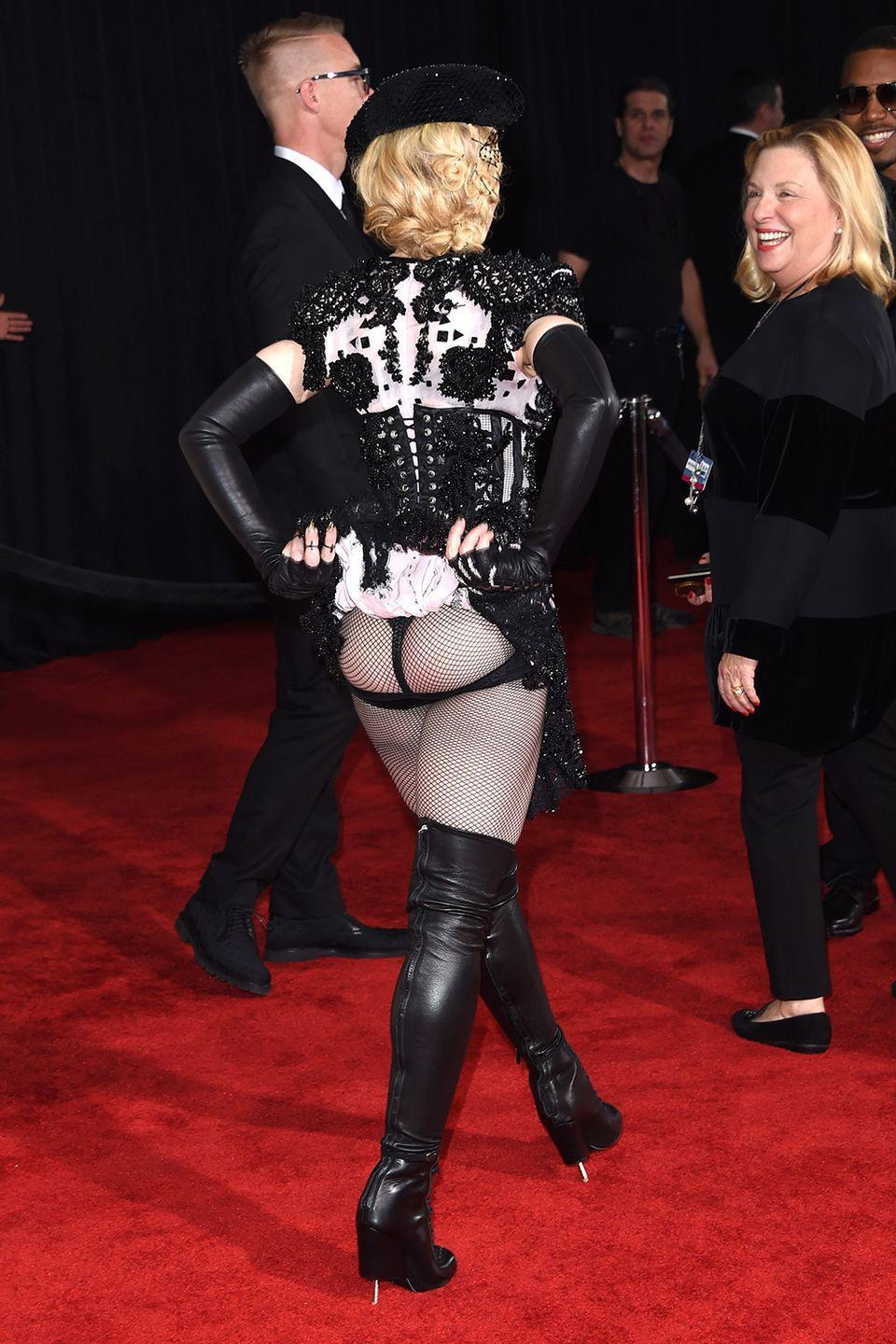 <p>The rear view of this look caused a stir.</p>