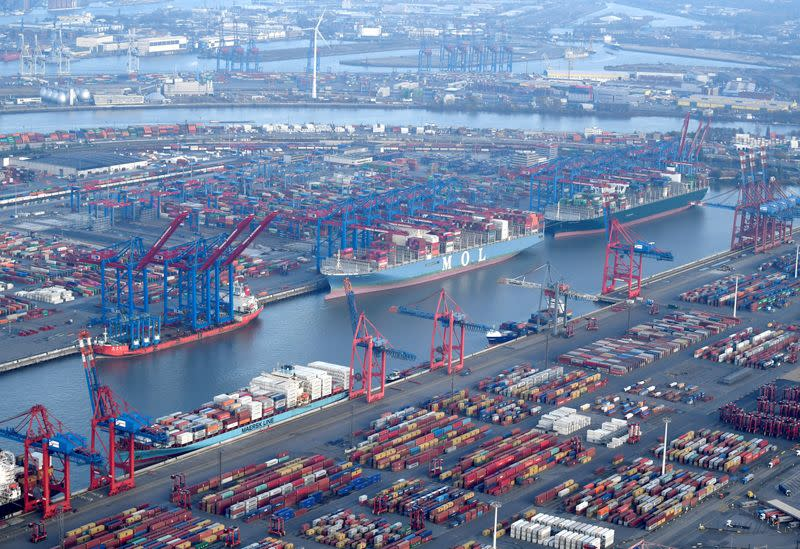 FILE PHOTO: Aerial view of a container terminal in the port of Hamburg
