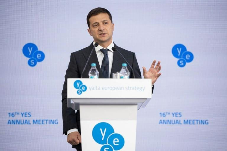 A call between Ukrainian President Volodymyr Zelensky and Trump is said to be the subject of a complaint by a US whistleblower (AFP Photo/Handout)