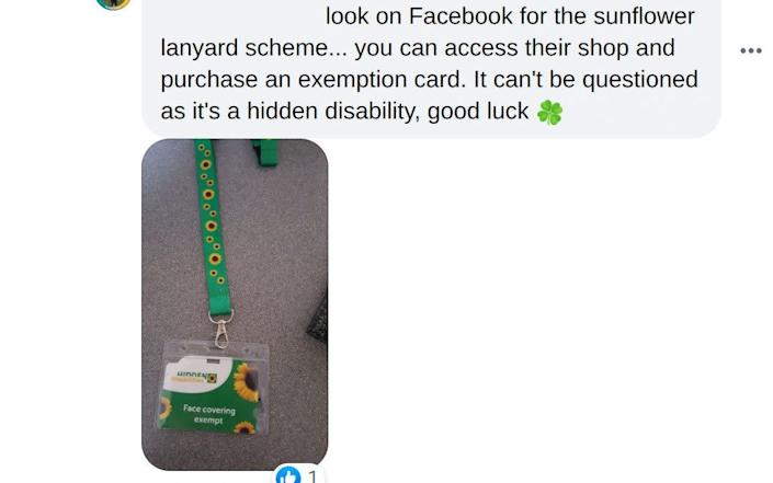 Facebook users are urging other to get the sunflower-themed lanyards, which are freely available online