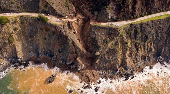 A section of the Pacific Coast Highway is seen from above after it collapsed into the Pacific Ocean near Big Sur, Calif. on January 31, 2021.