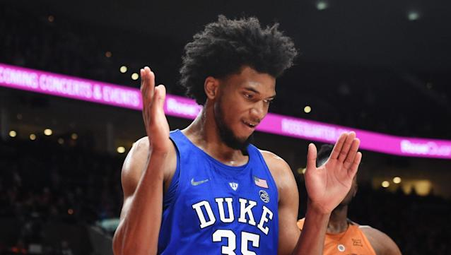 "Former Duke forward <a class=""link rapid-noclick-resp"" href=""/ncaab/players/142114/"" data-ylk=""slk:Marvin Bagley III"">Marvin Bagley III</a> will reportedly sign a sneaker deal with Puma."