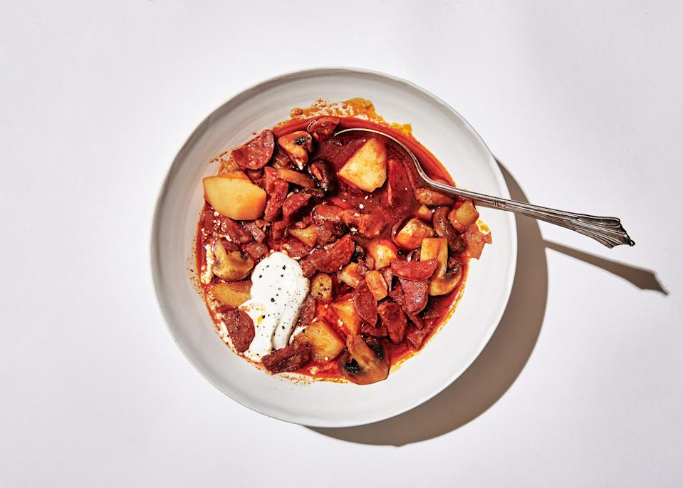 "This is the hearty, rustic, and deeply warming comfort food you'll be craving on all snowy days. Yes, it's a large amount of paprika, but it serves as a base flavor for the stew and gives it a deep red color and smoky aroma. <a href=""https://www.bonappetit.com/recipe/chorizo-and-potato-stew?mbid=synd_yahoo_rss"" rel=""nofollow noopener"" target=""_blank"" data-ylk=""slk:See recipe."" class=""link rapid-noclick-resp"">See recipe.</a>"