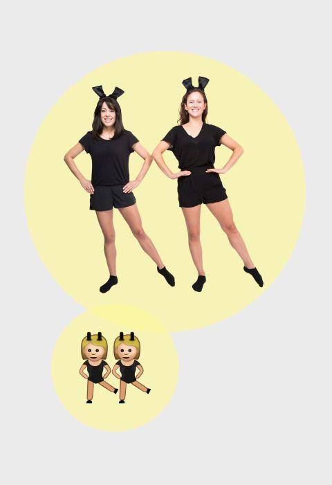 <p>Prepare for a night of dancing with this comfortable (but chic) look. Pair a black shirt and black shorts to make up the clothing portion of this dancing girl emoji pair, while black card stock attached to headbands serves as bunny ears. </p>